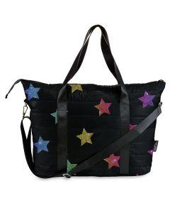 Top Trenz Multi Glitter Star Puffer Tote Bag - TOTE-MSTR2