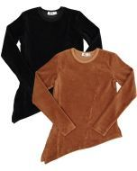 FYI Girls Asymetric Velour Ribbed Top - WB1CP4548