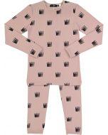 Peek-A-Boo Girls Ribbed Crown Print Cotton Pajamas - SB0CY1147P