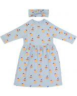 Pronto Girls Orange Print Dress with Headband - SB0CY1187D