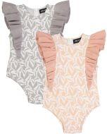 Space Gray Baby Girls Knit Stars Print Ruffle Romper - SB0CY1170BG