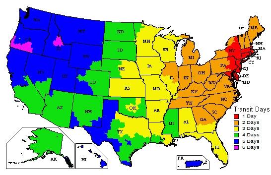 UPS Ground Map